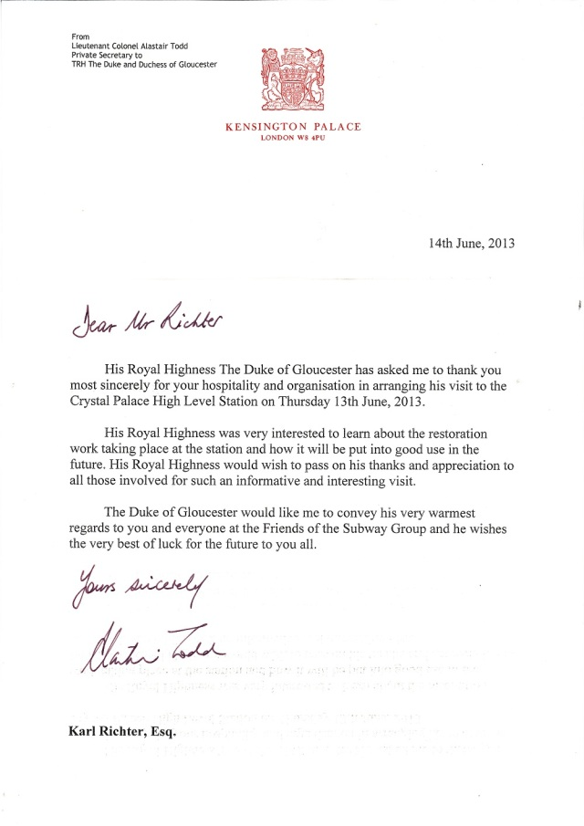 Letter Duke of Gloucester 14 June 2013