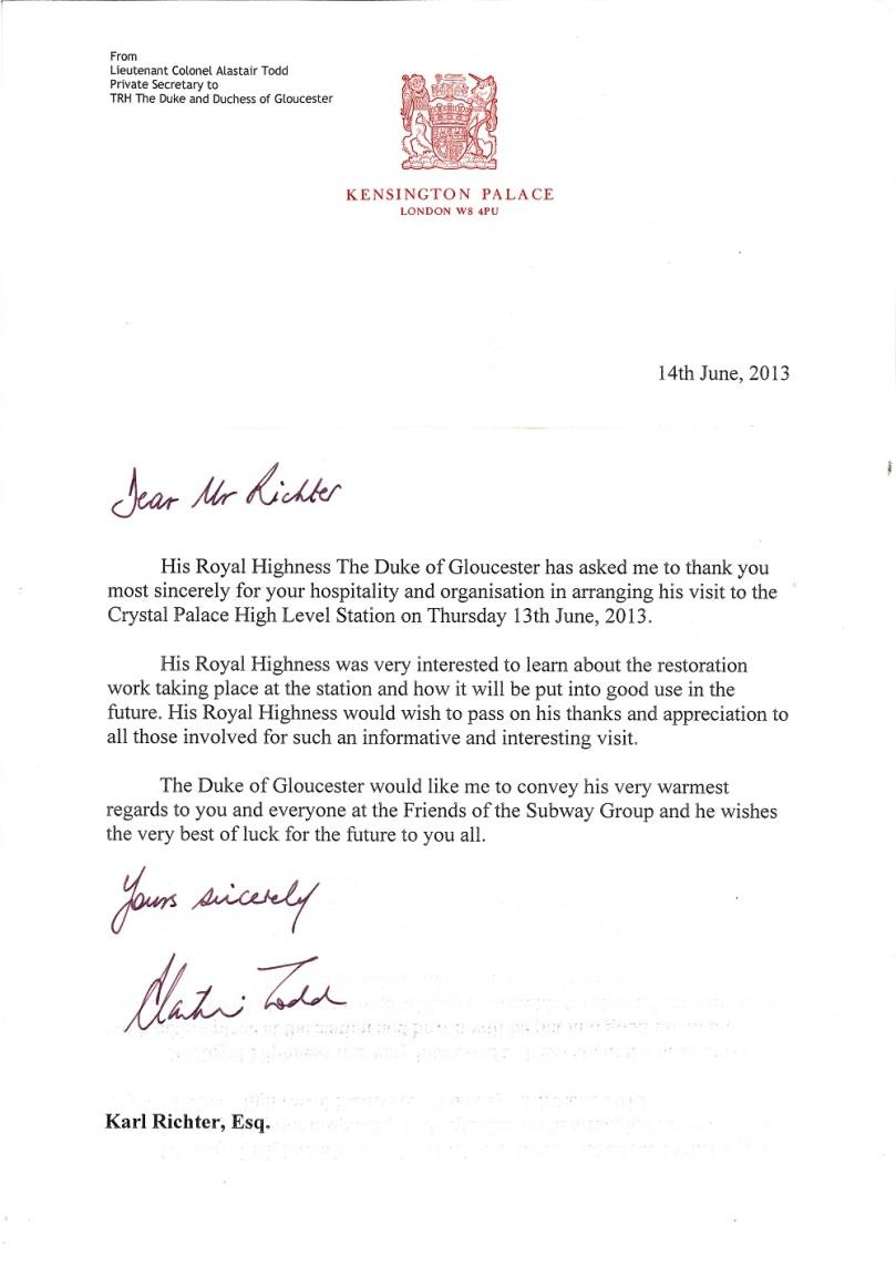 Letter Duke of Gloucester 14 June 2013
